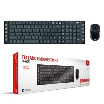 Kit Teclado e Mouse Sem Fio C3Tech com Teclas Multimídia - K-W50BK