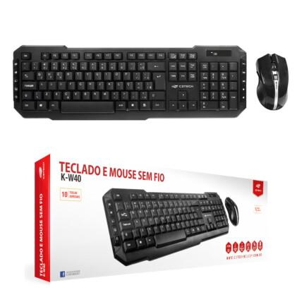 Kit Teclado e Mouse sem Fio C3Tech Wireless Multimídia - K-W40BK