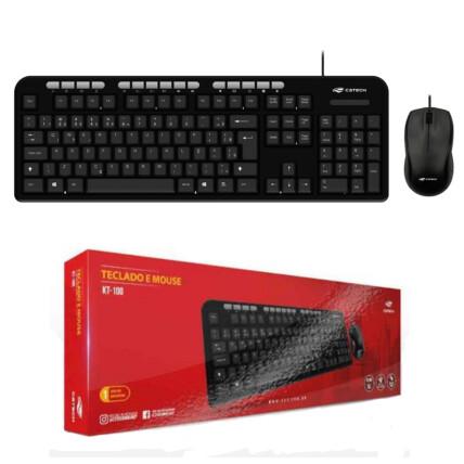 Kit Teclado e Mouse C3Tech Usb Multimídia ABNT2- KT-100BK