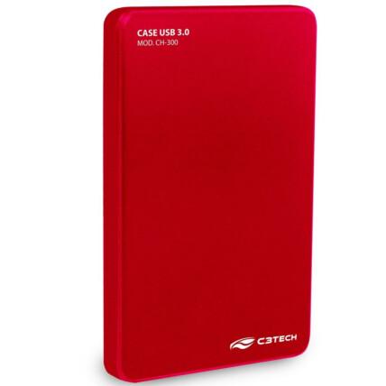 Case C3Tech para HD Externo 2.5' Usb 3.0 Vermelho - CH-300RD