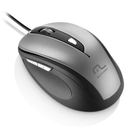 Mouse com Fio Multilaser Comfort Usb 6 Botões Cinza/Preto - MO242