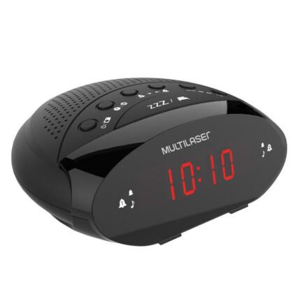 Rádio e Relógio Digital Multilaser com Alarme FM - SP352