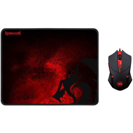 Kit Mouse Gamer e Mousepad Redragon Centrophorus 330 x 260mm - M601-BA