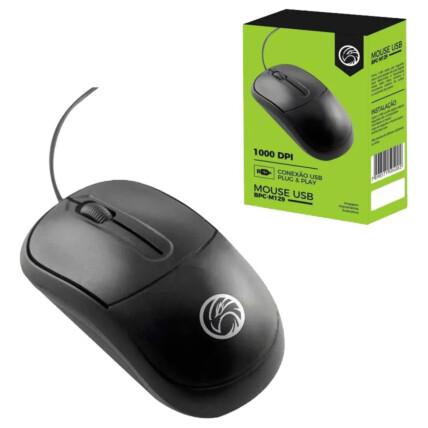 Mouse Usb Optico Brazil Pc 1000 Dpi Preto - BPC-M129