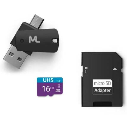 Kit Multilaser 4 em 1: Cartão De Memória + Adaptador USB Dual Drive + Adaptador SD 16GB até 80 Mb/S - MC150