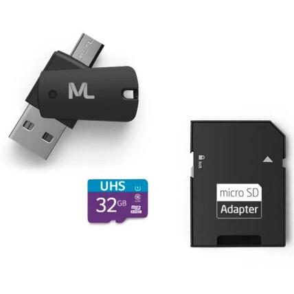 Kit Multilaser 4 em 1: Cartão De Memória + Adaptador USB Dual Drive + Adaptador SD 32GB até 80 Mb/S - MC151
