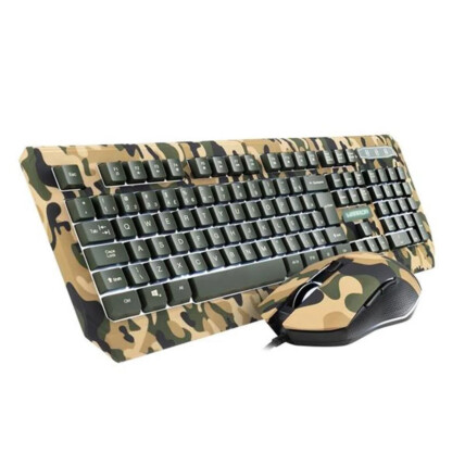 Kit Teclado e Mouse Gamer Warrior Kyler Army Camuflado Led - TC249