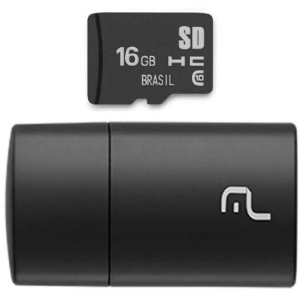 Kit 2 em 1 Multilaser Leitor USB + Cartão De Memória Micro SD Classe 10 16GB Preto - MC162