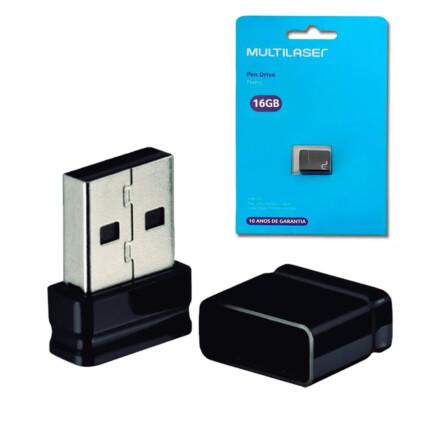 Pen Drive Multilaser Nano 16GB USB 2.0 Preto - PD054