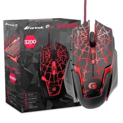 Mouse Gamer Fortrek Spider 2 Usb 6 Botões 3200dpi - OM705