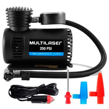 Compressor de Ar 12v Vazão 15 L/Min 250psi 3 Bicos Adaptadores Multilaser - AU601