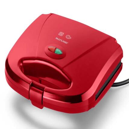 Sanduicheira Multilaser Minigrill Gourmet 127V 750W Chapa Dupla Antiaderente Vermelha - CE148