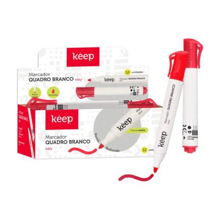 Pincel Marcador de Quadro Branco Easy Vermelho Caixa c/ 12un Multilaser Keep - MR008