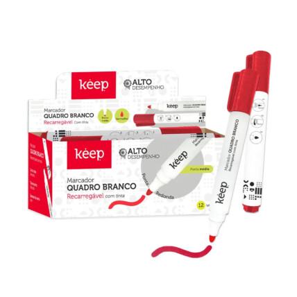 Pincel Marcador de Quadro Branco Recarregável Tinta Vermelha Caixa c/ 12un Multilaser Keep - MR037