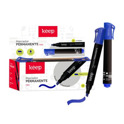 Pincel Marcador Permanente Multilaser Easy Azul Caixa c/ 12un Keep - MR049