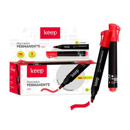 Pincel Marcador Permanente Multilaser Easy Vermelho Caixa c/ 12un Keep - MR051