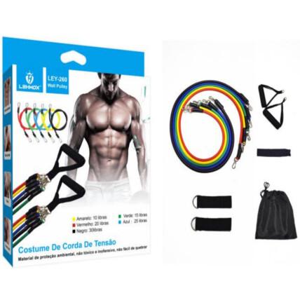 Kit Elástico Extensor para Musculação Cordas de Exercícios - LEY-260