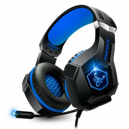 Headset Gamer Scorpion Com Fio Microfone Articulado e Led Rgb Azul Infokit - Gh-x1000