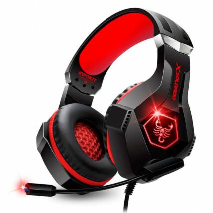 Headset Gamer Scorpion Com Fio Microfone Articulado e Led Rgb Vermelho Infokit - Gh-x1000