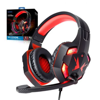 Headfone Gamer USB com Microfone LED Iluminação Vermelho EXBOM - HF-G600