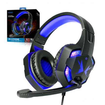 Headphone Gamer USB com Microfone LED Iluminação Azul EXBOM - HF-G600