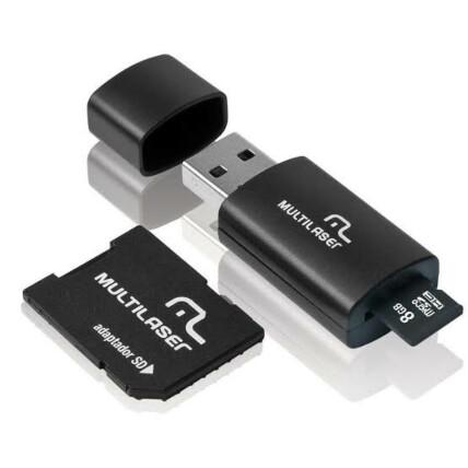Kit 3 Em 1 Pendrive + Adapt Sd + Cartão de Memória Classe 4 Com Trava de Segurança 8gb Preto Multilaser  - MC058