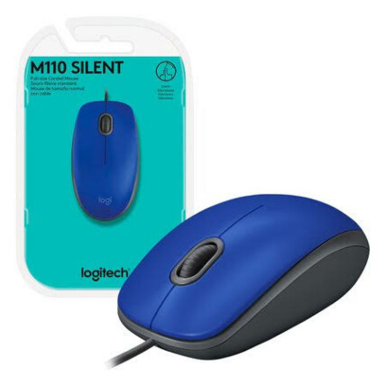Mouse Logitech com fio Usb e Clique Silencioso Silent - M110 AZUL