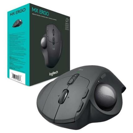 Mouse sem Fio Logitech Bluetooth+RC/nano Recarregável Trackball - MX Ergo