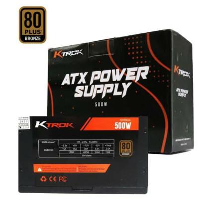 Fonte Gamer Atx 500W Ktrok 80 Plus Bronze Silenciosa - KT-PS500W