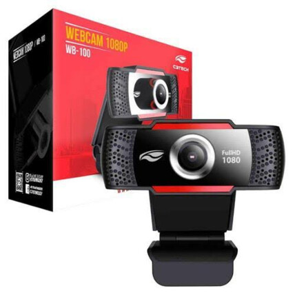 Webcam Full Hd C3Tech 1080P com Microfone Embutido - WB-100BK
