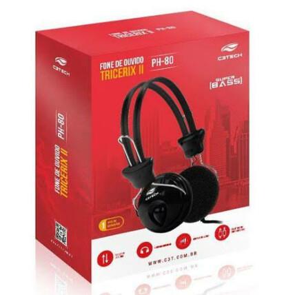 Fone de Ouvido Com Microfone C3Tech Tricerix - PH-80BK