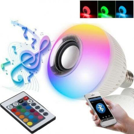 Lâmpada Caixa de Som Luz LED RGB Toca Música com Controle - LMPDBT003