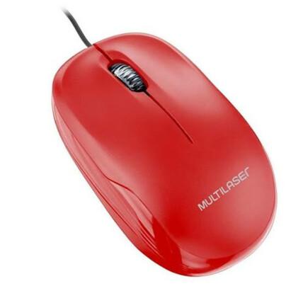 Mouse Óptico com fio Usb Vermelho Multilaser - MO292