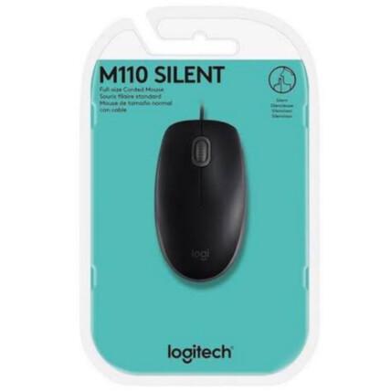 Mouse Logitech com fio Usb e Clique Silencioso - Silent M110 Preto