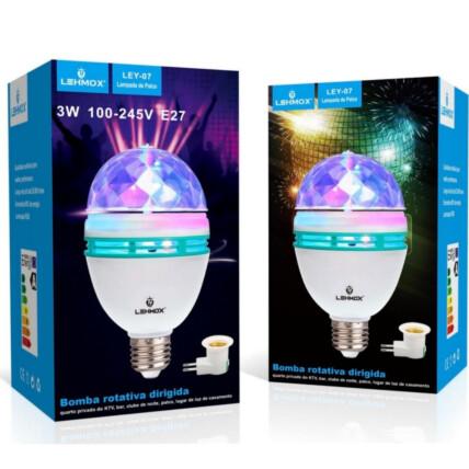 Lâmpada de Led Giratória Colorida para Festas Bivolt E27 - LEY-07