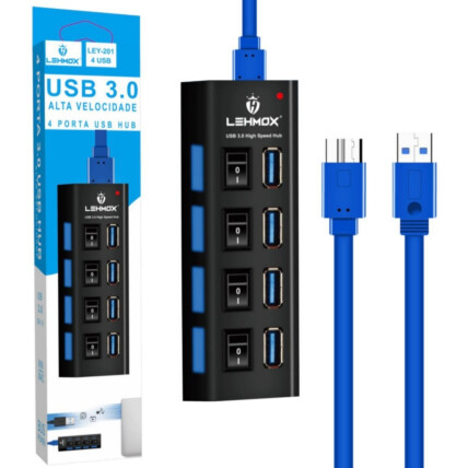Hub 3.0 4 Portas USB Extensor com Interruptor Lehmox - LEY-201