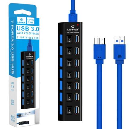 Hub 3.0 7 Portas USB Extensor com Interruptor Lehmox- LEY-199