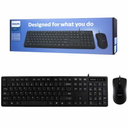 Teclado e Mouse 1000Dpi Usb 2.0 Com fio Philips - C201/SPT6201B