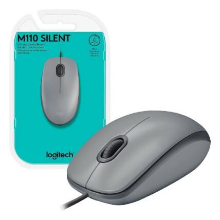 Mouse Logitech com fio Usb e Clique Silencioso - Silent M110 CINZA