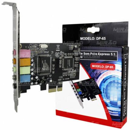Placa de Som PCI-E Express 5.1 6 Canais Dex - DP-65