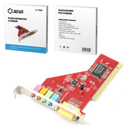 Placa de Som PCI 4 Canais Plug & Play Mic Line In SPK1 SPK2 MIDI LOTUS - LT-P256