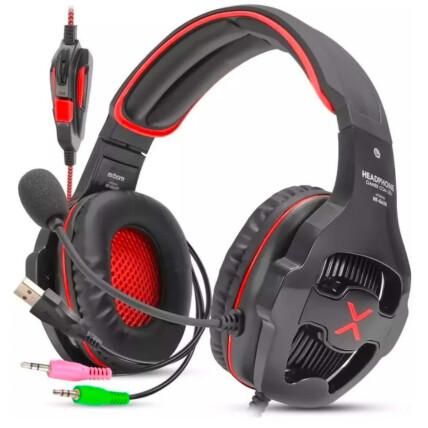 Headset Gamer Usb 7.1 Com Led e Controle de Volume Exbom Vermelho - Hf-G650