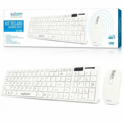 Teclado e Mouse Sem Fio Abnt2 2.4ghz Branco Exbom - BK-S1000