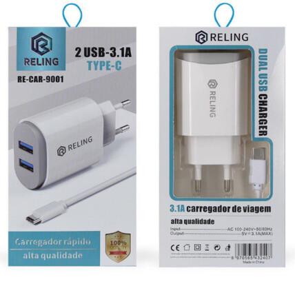 Carregador de Celular com 2 Portas USB + Cabo Type C - RE-CAR-9001