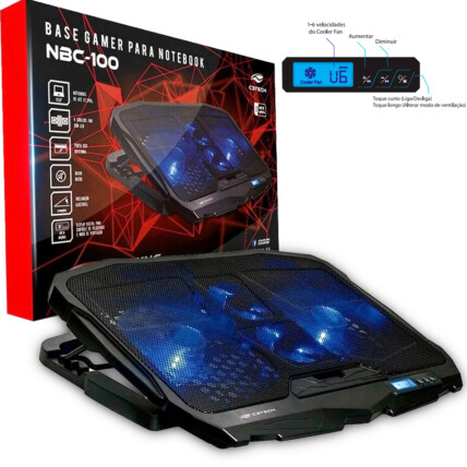 Base Gamer C3Tech para Notebook até 17.3' LED Azul 4 Coolers - NBC-100BK